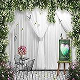 Wandgemälde Benutzerdefinierte 3D Fototapete Europäischen Stil Silk White Floral Rose Blume Hochzeit Fotografie Hintergrund Dekor Wandbild Tapete,290Cm(H)×480Cm(W)