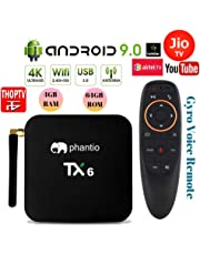 PHANTIO TX6 Android 9.0 Smart TV Box : JIO TV Hotstar DualBand WiFi Bluetooth Quad-Core 3D 4K Ultra HD H.265 Decoding USB3.0 Airtel TV Netflix YouTube and More (4GB / 64GB)