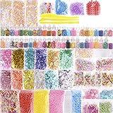 88Pack Slime kit include 48pezzi Vasetti di glitter,12boccia color carta da zucchero, perline, Fruit Flower Candy Slices for DIY Craft Homemade Slime