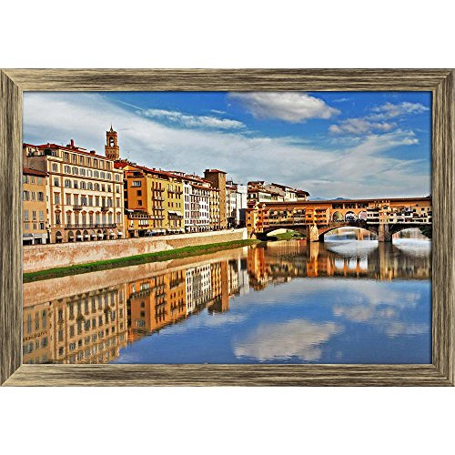 Pitaara Box Amazing Florence Canvas Painting Antique Golden Frame 23.5 X 16Inch - Florence Antique Print