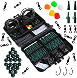 Dr.fish Carp Fishing Tackle Pocket Flip Box with 219 Pieces Rigs Lead Clips Hooks Swivel Corn Tube Beads Accessories Joblot