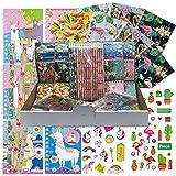 JuniorToys Einhorn-Party Alpaka Flamingo Paket 48 Kleinspielwaren Mitgebsel Tombola Kindergeburtstag Wurfmaterial - Notizbücher Bleistifte Blöckchen Sticker