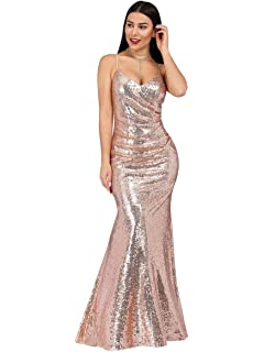 Ever-Pretty Womens Spaghetti Straps Long Sequin Mermaid Party Evening Dresses 07087
