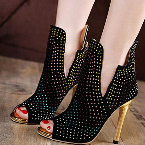 L@YC Frau Sandale Fr¨¹hling Sommer funkelnden Strass Stiletto High Heel schwarzen Peep Toes Black
