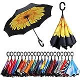 Amazon Brand - Eono Paraguas Invertido de Doble Capa, Paraguas Plegable de Manos Libres Autoportante,Paraguas a Prueba de Vie