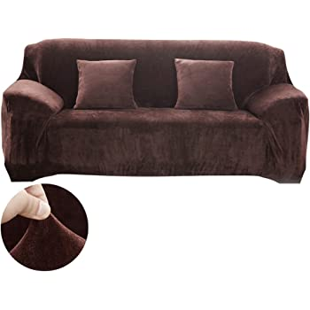 Stretch Velvet Sofa Cover Polyester Spandex 3 Seater Slipcover Protector  Armchair Slip Over Settee Couch Cover Coffee