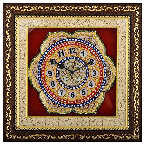 Saudeep India Trading Corporation Marble Wall Clock (SIWCFLMC7, 38 cm x 38...