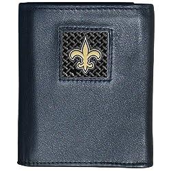 NFL New Orleans Saints Gridiron Leather Tri-Fold Wallet