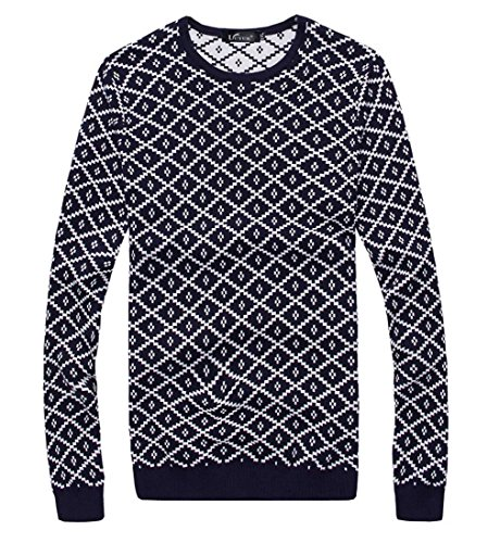jeansian Herren Slim Fit Long Sleeves Casual Shirts Pullover Sweater 8846 Navy
