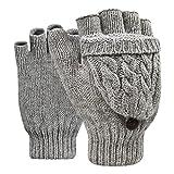 Winter Handschuhe Fingerlose Fäustlinge Damen Mädchen Doppelfunktione Winterhandschuhe Fingerhandschuhe Strickhandschuhe mit Flip Top