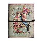 Maleden Tagebuch mit Paris-Motiv, Reisenotizbuch, mit Ledereinband, Vintage-Stil, klassisch, nachfüllbar, Planer für Mädchen und Jungen, blanko, mit Reißverschlussfach Vogel-Motiv