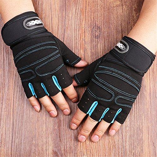 ZYPMM Fitness Handschuhe Männer Outdoor-Sport-Halbfingerhandschuhe rutschfeste Handschuhe Turnhalle Hantel Gewichtheben lange Handgelenk ( Color : Light blue )