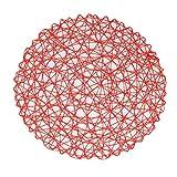 vlovelife 6Rund Gewebt Tischset Papier Faser Tischsets Hohl Dekorative Tisch-Sets Essen Tischsets Decor, Rot, 38 cm