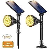 Solar Spot Lights, Outdoor Solar Spotlights, Super Bright 18 LED Security Light Waterproof Wall Lamps for Garden Landscape Pa