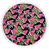 SATAJNN Telo Mare Pizza Ciambella Frutta Ananas Anguria Rotonda con Tassel Pizza Hamburger Bath Towel