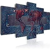 B&D XXL murando Akustikbild Weltkarte Abstrakt 225x112 cm Pinnwand Korktafel Korkwand Schallschutz Vlies Leinwand Akustikdämmung 5 TLG Wandbild Raumakustik Schalldämmung k-A-0081-b-p