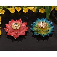 Collectible India Lotus Kuber Diya Puja Oil Lamp (Set of 2)