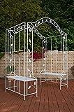 CLP Arche Jardin à rosiers ELEGANCE en métal, Gloriette de jardin ajustable avec 2 bancs, montage varié, diverses couleurs au choix blanc antique