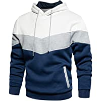 MANLUODANNI Men's Hoodies Pullover Hooded Sweatshirt Patchwork Top Casual Hoody with Pocket