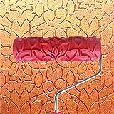 7 Inch Rouleau de Peinture Gaufré avec Poignée en Plastique pour Décoration Murale Motif de Fleur...