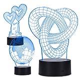 kwmobile 3D Illusionslampe LED 3 Designs - Farbwechsel Illusion Lampe optische Täuschung 1m USB-Kabel - Deko Stimmungslicht für Schlafzimmer 3er Set