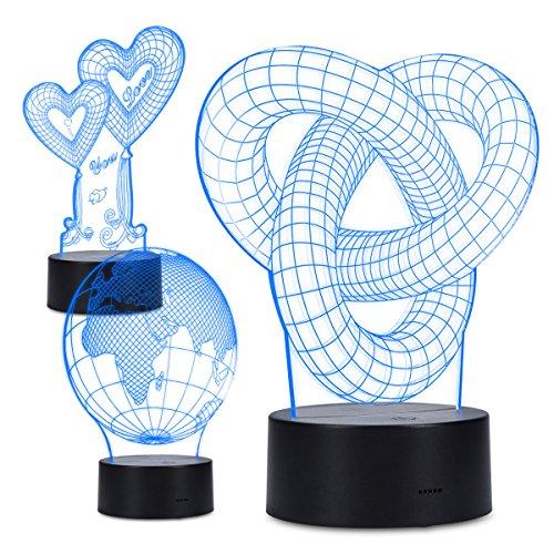Preisvergleich Produktbild kwmobile 3D Illusion Lampe Nachtlicht 3 Designs - LED Farbwechsel Dekolampe optische Täuschung 1m USB Kabel - Herz Deko Stimmungslicht 3er Set