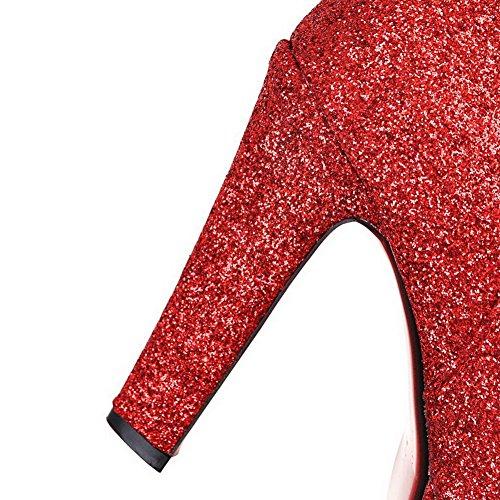 AgooLar Damen Blend-Materialien Knöchel Hohe Rein Reißverschluss Hoher Absatz Stiefel Rot