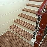 LianLe 5 Stück Stufenmatten Treppenmatten Rechteckig Ruschfest Lärmschutz, 24x65cm