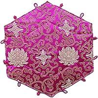 icegrey Handmade Ethnic ricamo pieghevole multifunzione Organizer Box, Cotone, Rose Red, taglia unica - Desktop Hanging File