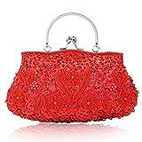 Damen Handgemachte Perle Handtasche, Abendtasche Damen Clutch Für Party, Hochzeit (Rot)