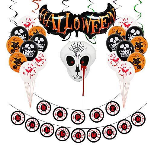 Asien 1Set Halloween Luftballons Banner Kit Happy Halloween-Party-Dekoration Aufblasbare Latex Ballon-Partei-Bevorzugungen Supplies (A)