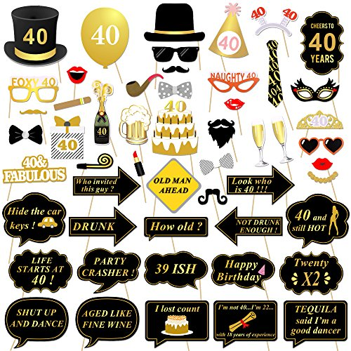 Konsait 40th Birthday Photo Booth Props Black And Gold Decorations Party On Stick For Gift Games Favor