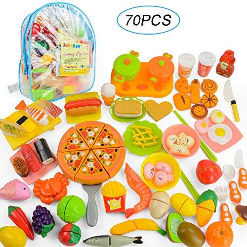 JoyGrow 70 PCS Tagliare i Giocattoli Alimentari Frutta Verdura Fast Food Sushi Affettare Giocare Cibo Giocattoli educativi Set di Alimenti con Zaino