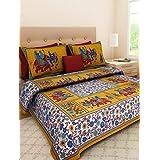 Rajdevi Jaipur Prints Sanganeri Jaipuri Double Cotton Printed Bedsheet Rajasthani 100% Cotton Bed Sheet With 2 Pillow Covers