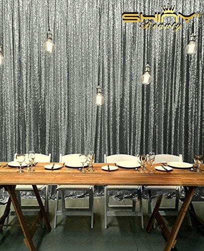 ShinyBeauty Glitter-Vorhang-8x10ft-Hintergrund Gunmetal,Glitzernd Pailletten Hintergrund-Fotografie Party Vorhang Hochzeit