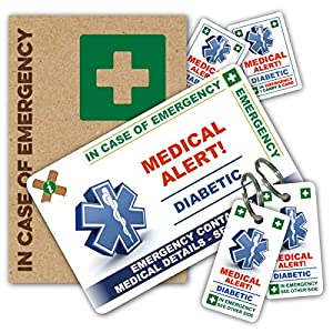 DIABETIC In Case of Emergency (I.C.E.) Card Pack with Key Rings & Stickers from ICEcard. Wallet size card with WRITABLE reverse to carry Emergency Contact & Medical / Medication Information. Suitable for anyone with Diabetes by ICEcard