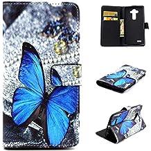 Dokpav® Teléfono Celular Cuero Funda de LG G4, Ultra Delgada Fina Cubierta una función Con Ranura Para Tarjetas Soporte Protección Flip Case Cover de Cuero de la Piel PU Carcasa para LG G4 (Mariposa)