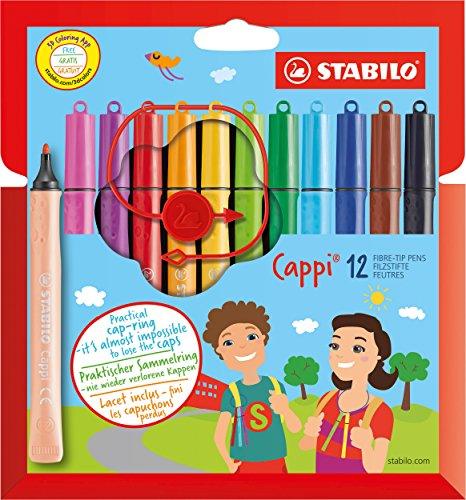 Feutre de coloriage - STABILO Cappi - Étui carton de 12 feutres pointe moyenne + 1 lacet d'attache