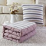 HOMEE Cotone lavabile in puro cotone Color Grid-Cuscino doppio uso da un divano da ufficio Car Afternoon Nap Trapunta climatizzata, 40 * 40, color caffè.,Gray Coffee Bar, 40 * 40