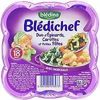 Blédina Blédichef Duo d'Epinards Carottes et Petites Pâtes dès 18 mois 260 g - Lot de 6