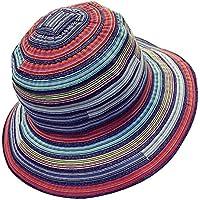 TININNA Donne colorato striscia coneflower Cappelli da sole spiaggia di sabbia Cappello di estivo Protezione Cappello della spiaggia Profondo blu
