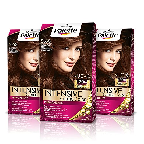 Palette Intense Cream Coloration Intensive Coloración del Cabello, 5.68 Castaño Rojizo - Pack de 3