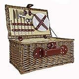 Picknickkorb, Weidenkorb für 2Personen, mit integriertem Kühlfach & Luxus-Edelstahlbesteck–Geschenkideen für Valentinstag, Muttertag, Geburtstag, Hochzeit, Jahrestag, Firmengeschenk.