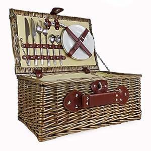 Cestino da picnic in vimini foderato color crema con scomparto termico integrato con accessori - idea regalo per compleanni, matrimoni e anniversari, nonché per aziende