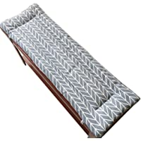 LINGRUI Long Bench Cushion with Fixing Ties,Swing 2 or3 Seater Bench Mat Pad Replacement Mattress Travel Seat Pad Indoor Outdoor,2cm Thick,Washable-Grey-87x28cm