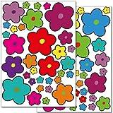 Wandkings Blumen Design 5 Wandsticker Set, 68 Aufkleber, 2 DIN A4 Bögen, Gesamtfläche 60 x 20 cm