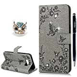 YOKIRIN Case for Samsung Galaxy S8 Plus Case, S8 Plus Wallet Case Bling Clear Crystal Diamond Premium Soft PU Leather Notebook Wallet Embossed Buterfly Design Case Kickstand Function Card Holder Slot Slim Flip Protective Skin Cover Phone Case for Samsung Galaxy Plus S8 - Grey