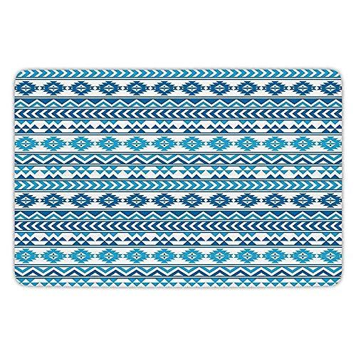 doormats sky Tribal Aztec Pattern with Native American Geometric Folk Cultural Forms Primitive Image Blue White Flannel Microfiber Soft Absorbent Bathroom Bath Rug Home Decor