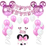 JOYMEMO Decorazioni di Compleanno Minnie per Bambine Forniture per Minnie Rosa con Palloncini Minnie Mouse, Happy Birthday Gh