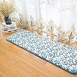 Morbuy Hochflor Korallen Samt Shaggy Schmutzfangmatte Teppich Anti-Rutsch-Bequeme Badematte Badezimmer-Teppich Super saugfähiger weicher Duschteppich-Indoor/Outdoor geeignet (50x80cm, Hellblau)